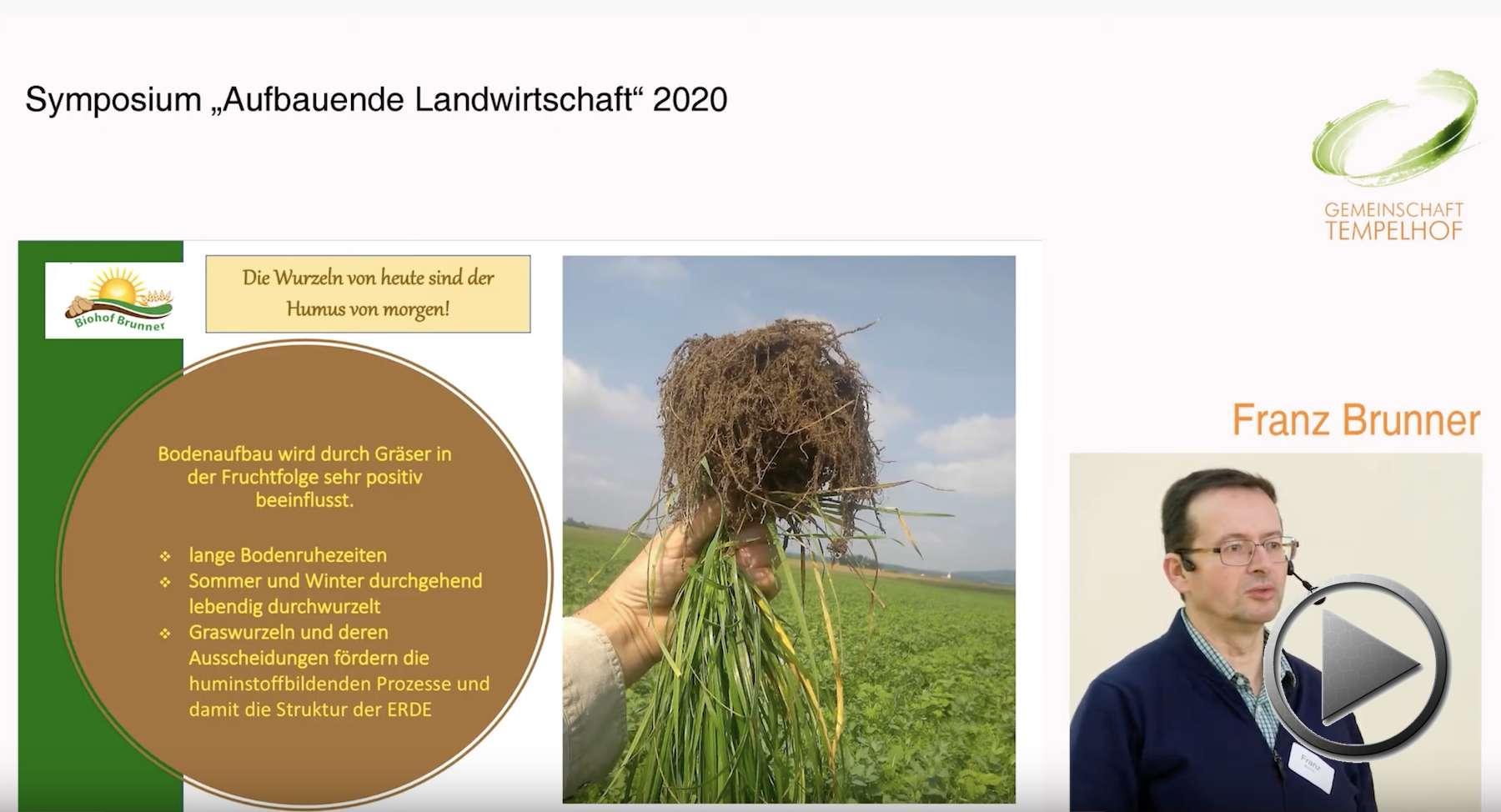 """Präsentation: Die Wurzeln von heute sind der Humus von morgen. Franz Brunner. Symposium """"Aufbauende Landwirtschaft"""" 2020"""
