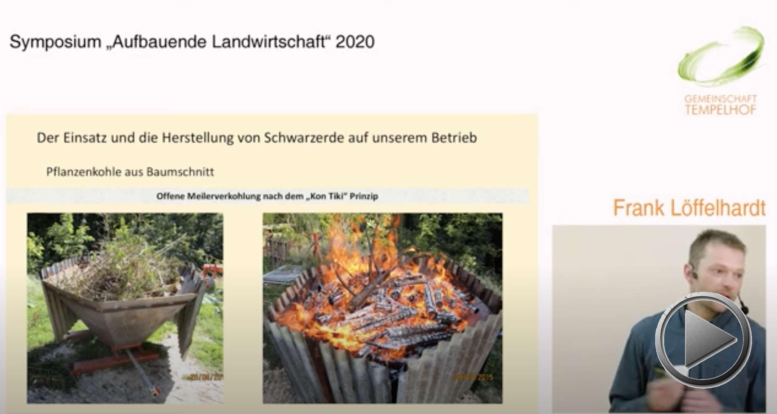 """Präsentation: Humusaufbau mit Juxer Schwarzerde. Frank Löffelhardt. Symposium """"Aufbauende Landwirtschaft"""" 2020"""
